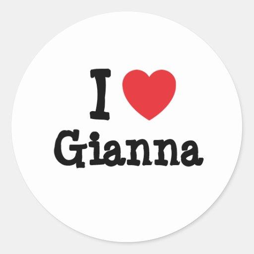 Amo la camiseta del corazón de Juana Pegatinas Redondas