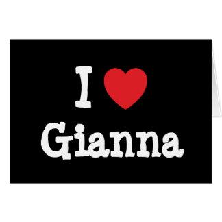 Amo la camiseta del corazón de Juana Tarjeta De Felicitación
