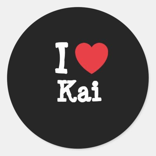 Amo la camiseta del corazón de Kai Pegatina Redonda