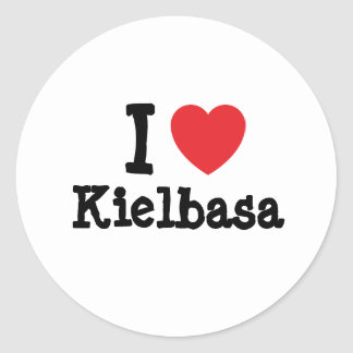 Amo la camiseta del corazón de Kielbasa Pegatina Redonda