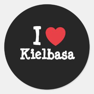 Amo la camiseta del corazón de Kielbasa Etiqueta Redonda