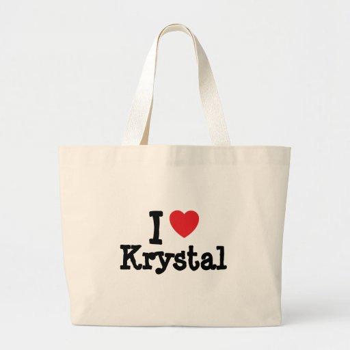 Amo la camiseta del corazón de Krystal Bolsa Tela Grande