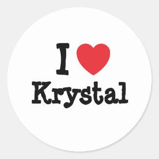 Amo la camiseta del corazón de Krystal Pegatina Redonda