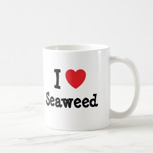 Amo la camiseta del corazón de la alga marina taza