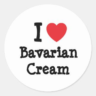 Amo la camiseta del corazón de la crema bávara pegatina redonda