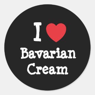 Amo la camiseta del corazón de la crema bávara pegatinas redondas