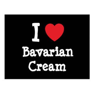 Amo la camiseta del corazón de la crema bávara tarjeta postal