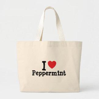 Amo la camiseta del corazón de la hierbabuena bolsas
