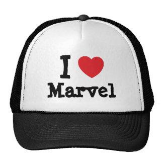 Amo la camiseta del corazón de la maravilla gorra
