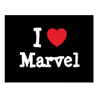 Amo la camiseta del corazón de la maravilla postales
