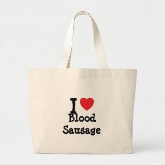 Amo la camiseta del corazón de la morcilla bolsas