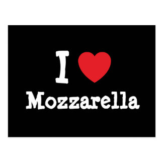 Amo la camiseta del corazón de la mozzarella postal