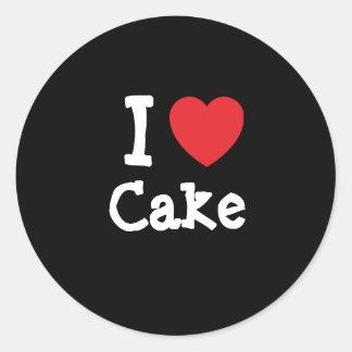 Amo la camiseta del corazón de la torta pegatina redonda