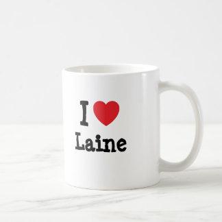 Amo la camiseta del corazón de Laine Tazas
