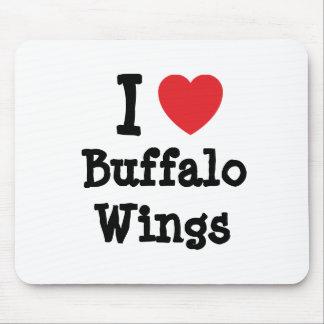 Amo la camiseta del corazón de las alas de búfalo tapete de ratón