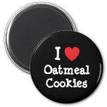 Amo la camiseta del corazón de las galletas de har iman de frigorífico