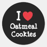 Amo la camiseta del corazón de las galletas de pegatinas redondas