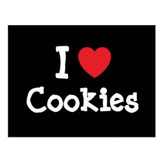 Amo la camiseta del corazón de las galletas tarjetas postales