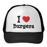 Amo la camiseta del corazón de las hamburguesas gorra