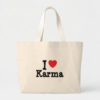 Amo la camiseta del corazón de las karmas bolsas de mano