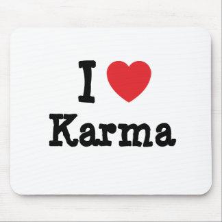 Amo la camiseta del corazón de las karmas alfombrilla de ratón