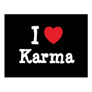 Amo la camiseta del corazón de las karmas tarjetas postales