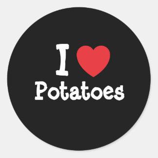 Amo la camiseta del corazón de las patatas pegatina