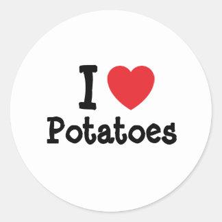 Amo la camiseta del corazón de las patatas pegatina redonda