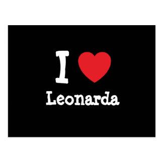 Amo la camiseta del corazón de Leonarda Postal