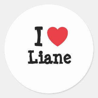 Amo la camiseta del corazón de Liane Pegatina Redonda