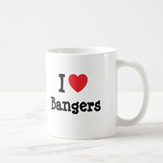 Amo la camiseta del corazón de los Bangers Tazas De Café