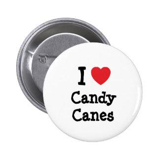 Amo la camiseta del corazón de los bastones de car pin redondo 5 cm