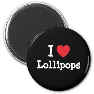 Amo la camiseta del corazón de los Lollipops Imán Para Frigorífico