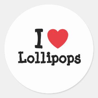 Amo la camiseta del corazón de los Lollipops Pegatina Redonda