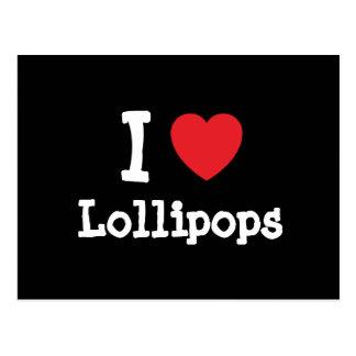Amo la camiseta del corazón de los Lollipops Tarjeta Postal