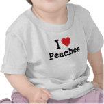 Amo la camiseta del corazón de los melocotones