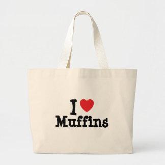 Amo la camiseta del corazón de los molletes bolsa tela grande