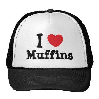 Amo la camiseta del corazón de los molletes gorras de camionero