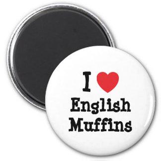 Amo la camiseta del corazón de los molletes ingles imán redondo 5 cm