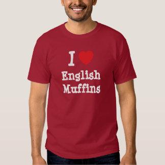 Amo la camiseta del corazón de los molletes playera