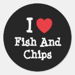 Amo la camiseta del corazón de los pescado frito pegatinas redondas