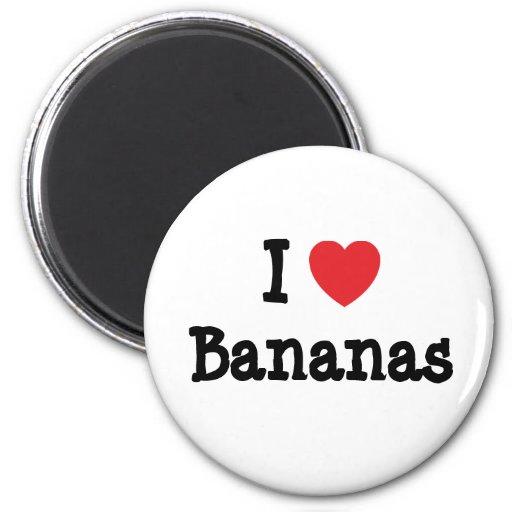 Amo la camiseta del corazón de los plátanos iman