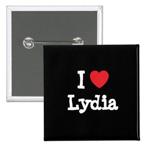 Amo la camiseta del corazón de Lydia Pin Cuadrada 5 Cm