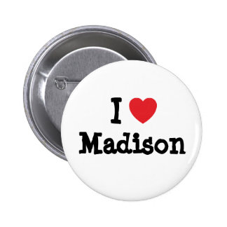 Amo la camiseta del corazón de Madison Pin Redondo 5 Cm
