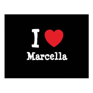 Amo la camiseta del corazón de Marcela Tarjeta Postal