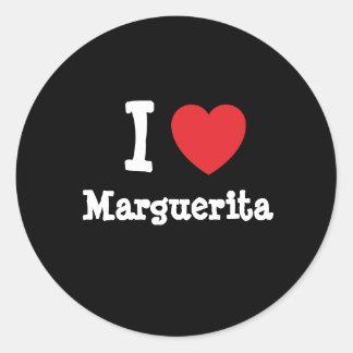 Amo la camiseta del corazón de Marguerita Pegatina