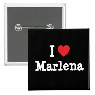 Amo la camiseta del corazón de Marlena Pin Cuadrado