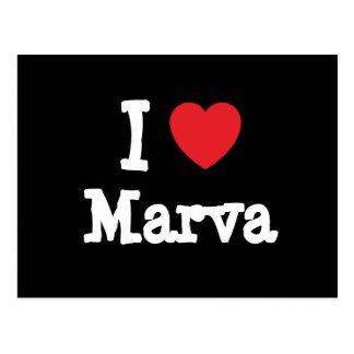 Amo la camiseta del corazón de Marva Postales
