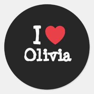 Amo la camiseta del corazón de Olivia Pegatinas Redondas