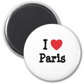 Amo la camiseta del corazón de París Imán Redondo 5 Cm
